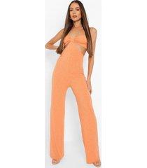 jumbo geribbelde wide leg jumpsuit met uitsnijding, burnt orange