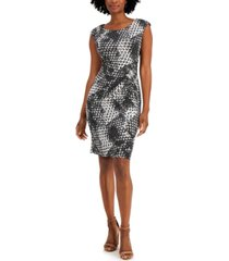 connected petite printed boat-neck sheath dress