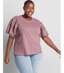 lane bryant women's flutter sleeve top with mix trim 38/40 light purple