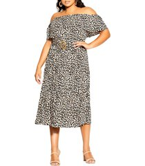 city chic leopard print off the shoulder dress, size x-small in prowess at nordstrom