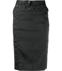 ann demeulemeester button fitted skirt - black