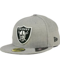 new era oakland raiders heather black white 59fifty fitted cap