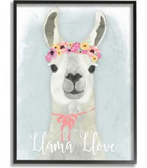"stupell industries llama love pink flower tiara framed giclee art, 16"" x 20"""