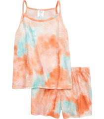 girl's treasure & bond kids' tie dye two-piece tank top & shorts pajamas, size m - pink