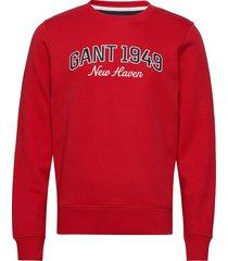 d1. gant c-neck sweat sweat-shirt tröja röd gant