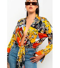 akira walk in the park long sleeve tie front blouse