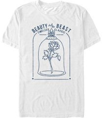 disney men's beauty and the beast classic rose glass, short sleeve t-shirt
