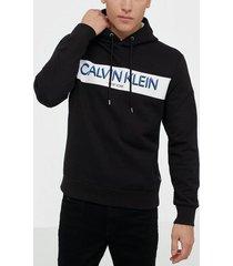 calvin klein stripe logo hoodie tröjor black