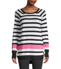 rd style women's striped high-low sweater - black - size xs