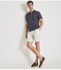 reiss keep - linen blend shorts with side adjusters in white, mens, size 36
