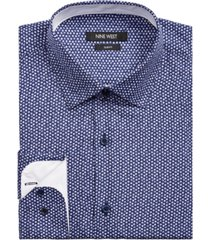 nine west men's slim-fit performance stretch gem-print dress shirt