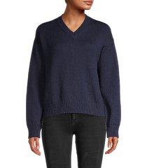 loro piana women's santorini v-neck sweater - sapphire - size 46 (12)