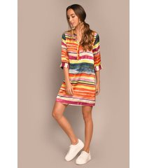 vestido corto estampado acuarelado horizontal