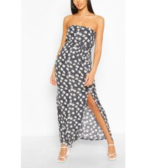bandeau floral mix print belted maxi dress, navy