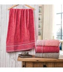 kit 04 toalha rosto verona barra jacquard vermelho - bene casa