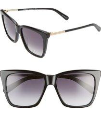 women's rebecca minkoff indio 55mm gradient cat eye sunglasses - black/ dark grey