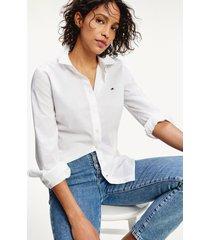 camisa en algodón de corte regular blanco tommy hilfiger