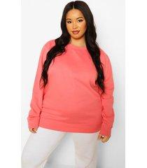 plus basic oversized sweater, coral