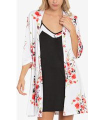 linea donatella floral-print chemise nightgown & wrap robe set