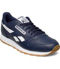 cl leather mu låga sneakers blå reebok classics