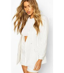 pinstripe collarless double breasted blazer, white