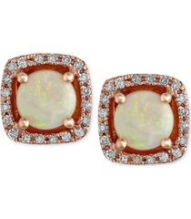 aurora by effy opal (3/4 ct. t.w.) and diamond (1/8 ct. t.w.) stud earrings in 14k rose gold