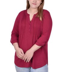 plus size 3/4 roll tab sleeve plaid y-neck pullover