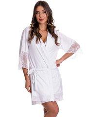 robe estilo sedutor em microfibra e renda manga 7/8 branco - dr301 - branco - feminino - dafiti