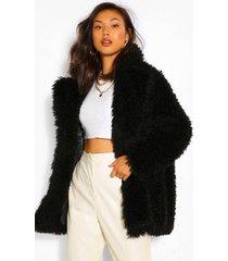 getextuurde faux fur teddy jas, zwart