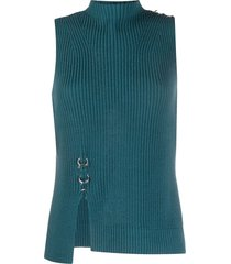 diesel ring detail rib knit top - blue