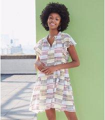 loft petite striped tiered flounce dress