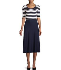 striped elbow length-sleeve dress