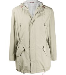 brunello cucinelli toggle detail hooded coat - neutrals