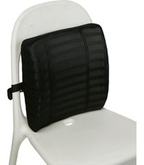 mind reader memory foam lumbar support back cushion with mesh cover, black