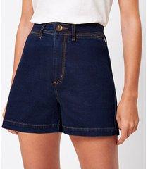 loft petite welt pocket denim shorts in refined dark indigo wash