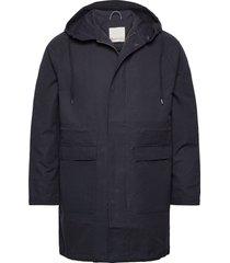 ocean long hood jacket parka jacka blå knowledge cotton apparel