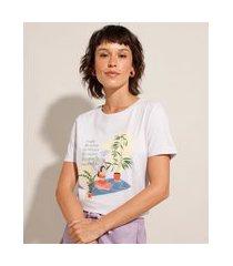 """camiseta de algodão reconecte"""" manga curta decote redondo roxo"""""""