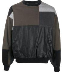 gr-uniforma short patchwork sweatshirt - black