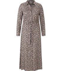 jurk met overhemdkraag en lange mouwen van emilia lay beige