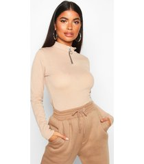 petite zip up ribbed high neck top, stone
