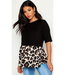 maternity contrast leopard smock top, brown