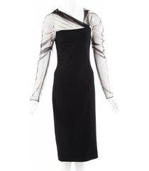 cushnie tulle pencil dress black sz: s