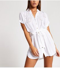 river island womens white embroidered tie front shirt beach dress