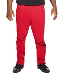 mvp collections men's big and tall distressed red denim jean
