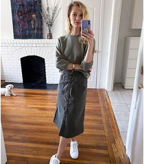 lou & grey brushed twill snap front midi skirt