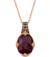 "le vian raspberry rhodolite garnet (6-9/10 ct. t.w.) and diamond (3/8 ct.t.w.) 18"" pendant necklace in 14k rose gold"