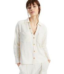 alfani petite modern lounge textured shirt, created for macy's