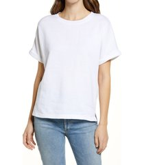 women's caslon dolman sleeve french terry t-shirt, size x-small - white