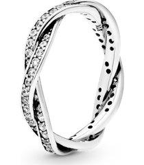 anel de prata brilho entrelaçado