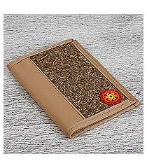 natural fiber passport wallet, 'huichol tradition' (mexico)
